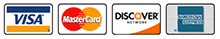 We accept Visa Mastercard Discover and AMEX