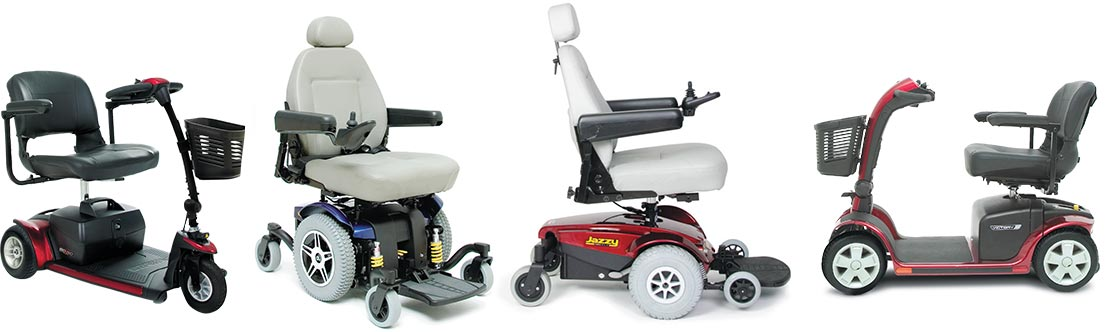 A collection of various mobility devices and wheelchairs.